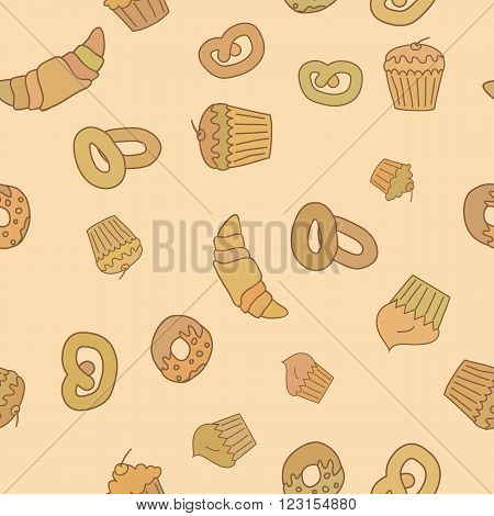 Vector bakery seamless pattern background in childish style