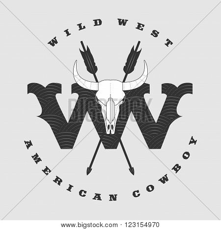 Vector concept logo Wild West for company product event. Bull horns and skull eye catching sign