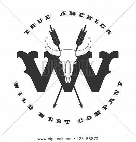 Wild West vector concept template logo for company product event. Sign design element banner western style