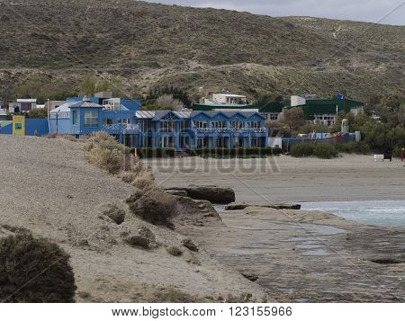 The town of Puerto Pirámides Argentina. Whale watching area of Patagonia.