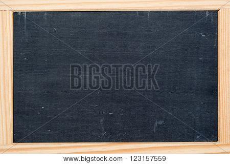 empty dark grey slate chalkboard wood framed