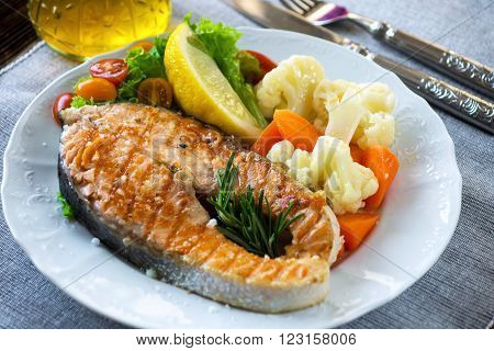 Grilled Salmon Steak  With Vegetable