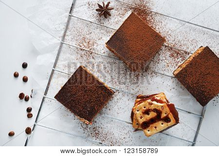 Few delicious chocolate cakes, top view