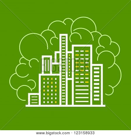 Modern Buildings Business Center, Line Style Design, Logo Design Element ,Vector Illustration