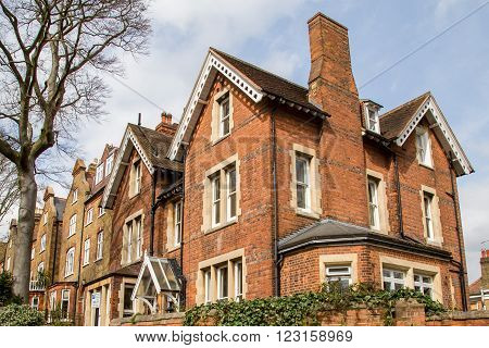 Row of Typical Victorian English Houses in Hampstead London