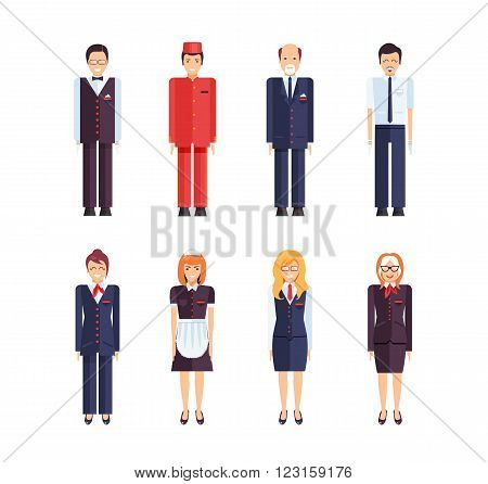 Stock vector set of isolated characters, hotel staff, administrator, animator, maid, director, concierge, porter, registration statement in flat style  for icons, websites, printed materials