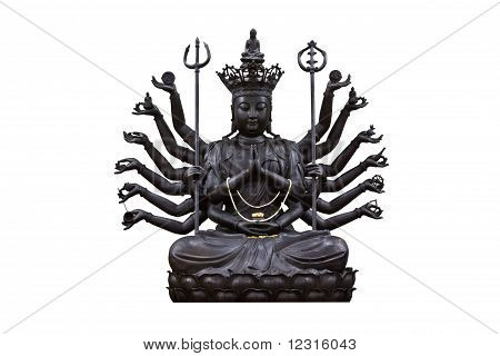 The Images Of Guanyin Black On White Background