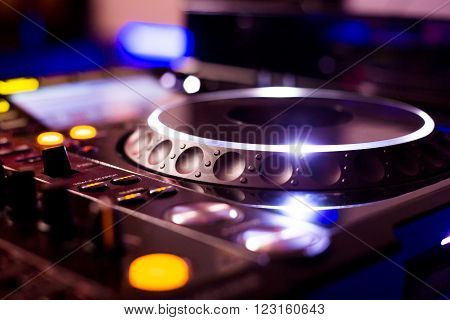 DJ CD player and mixer for a party