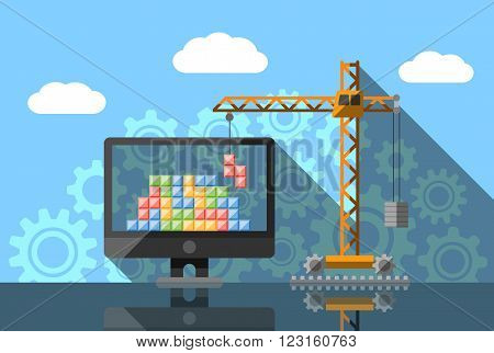 Construction crane lifting colorful cubic boxes in computer, web design and development abstract vision concept.