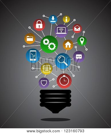 Light bulb with colorful networking icons abstract concept.