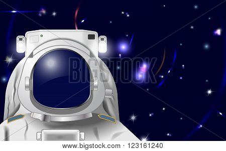 Vector Astronaut Illustration to Put Your Own Face or Reflection in Eps10 Vector Gradient Mesh and Transparency Used