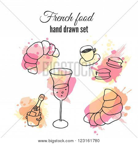French food illustrations. Vector pastry and coffee designs. French champange illustration. French croissant and macaroons.