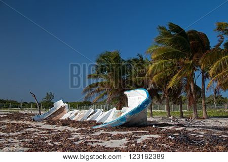 Beached Wrecked Fishing Boat Skiff on Isla Blanca Cancun Mexico