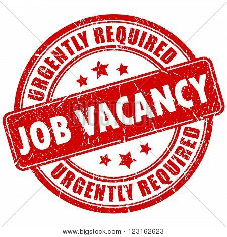 Job vacancy stamp on white background, urgently required