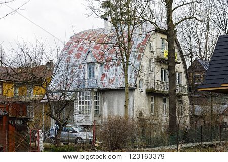 ZAKOPANE POLAND - MARCH 09 2016: Villa named Snowball (Sniezka) is a brick dwelling house built in the first years of the 20th century listed in the municipal register of monuments of architecture