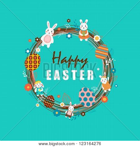 Stock vector illustration Happy Easter wreath with Easter bunny, colored Easter eggs, spring decoration, leaves, flowers on blue background to printed materials, website, postcard, greeting