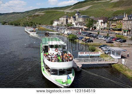 Bernkaster-Kues. May-28-2011. Cruise boat stops after a cruise on the Moselle. Germany
