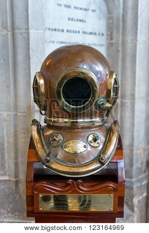 WINCHESTER, UK - FEBRUARY 07, 2016: Diving helmet of William Walker, the diver who saved Winchester Cathedral. February 07, 2016 in Winchester, UK.