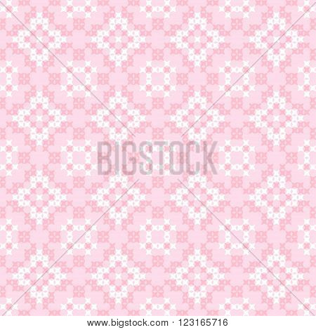 Seamless texture with pink and white abstract patterns for tablecloth. Embroidery.Cross stitch.
