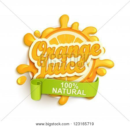 Orange juice label splash. Blot and lettering with ribbon on white background. Splash and blot design, shape creative vector illustration.