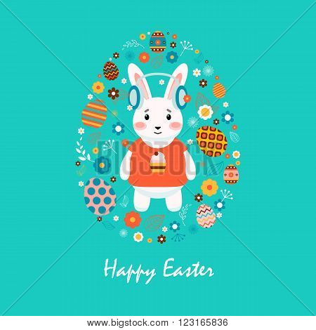 Stock vector illustration Happy Easter bunny in T-shirt with cupcake, colored eggs, spring decoration, leaves, flowers in flat style on blue background to printed material, website, postcard, greeting