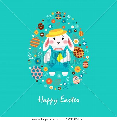 Stock vector illustration Happy Easter bunny in overalls, hat, pear, colored eggs, spring decoration, leaves, flowers in flat style on blue background to printed materials, website, postcard, greeting