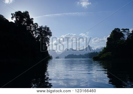 Beautiful morning day light with mountain at Khao Sok National Park Surat Thani Thailand.