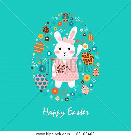 Stock vector illustration Happy Easter with bunny in polka-dot dress, colored eggs, spring decoration, leaves, flower in flat style on blue background to printed materials, website, postcard, greeting