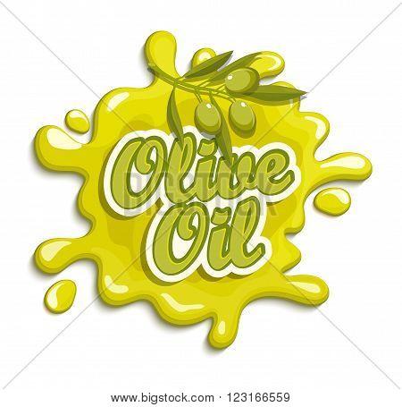 Olive oil label, badge or seal on the white background, vector illustration.