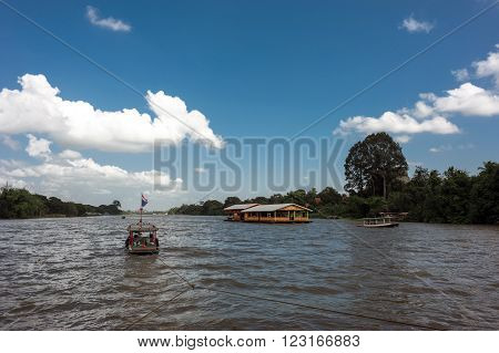 floating house in river Kwai.  Kanchanaburi of Thailand.