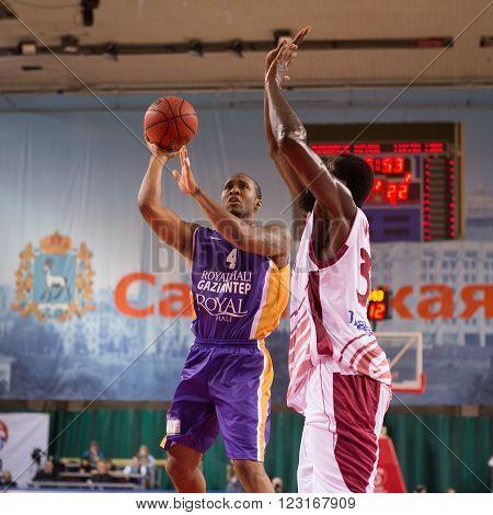 SAMARA RUSSIA - NOVEMBER 06, 2013: BC Royal Hali Gaziantep guard Stanley Burell (4) during the BC Krasnye Krylia basketball game on November 06 2013 in Samara Russia.