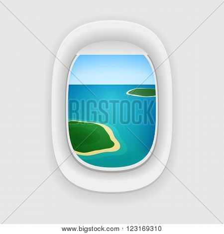 Vector Aircraft Porthole, Window With A Travel Destination