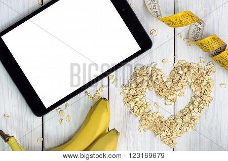 Breakfast with oatmeal. Healthy breakfast / Oatmeal with banana