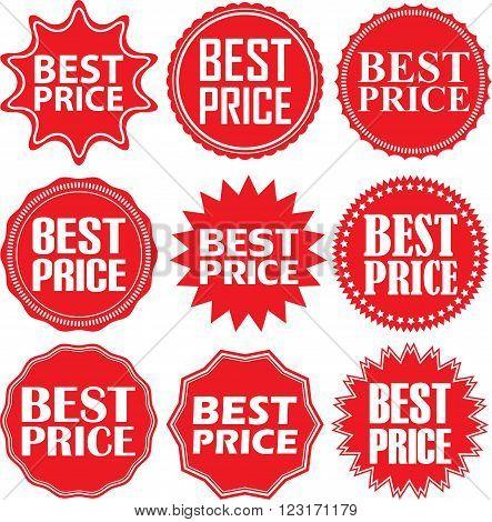 Best Price Signs Set, Best Price Sticker Set, Vector Illustration