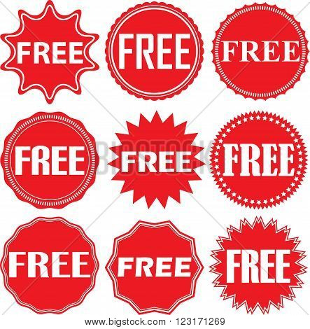 Free Signs Set, Free Sticker Set, Vector Illustration