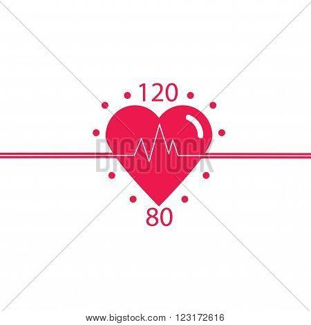 Vector icon of healthy heart blood pressure healthy pulse. Logo cardiology clinic. Conceptual design of a healthy heart. Vector.