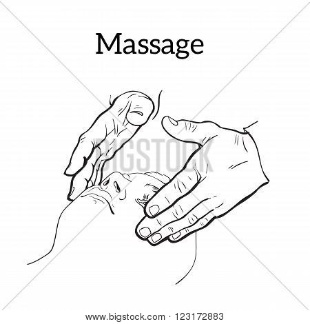 Hand massage, skin massage, face massage. Types of massage. Set with image of massage. Face massage. Massage therapy. Therapeutic manual massage. Relaxing therapy. Massage vector icons. Body massage
