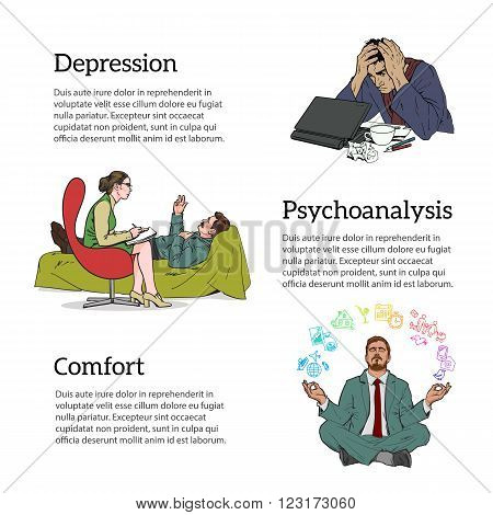 Help psychologist. Psychotherapy. Consulting psychologist doctor. Psychologist listens to patient. Man in depression. The crisis in the country and life. Bad feeling. Relaxed. Search yourself. vector