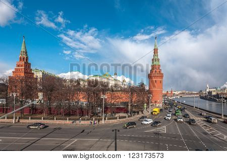 Moscow, Russia - March 20, 2016: Water platoon tower and Borovitskaya of a tower of the Moscow Kremlin, view from Big Stone Bridge.