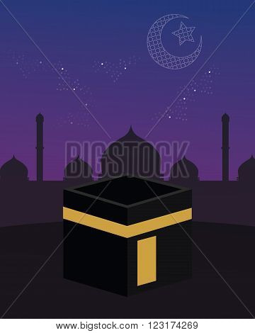 mecca kaaba islam beutiful sky stars crescent vector