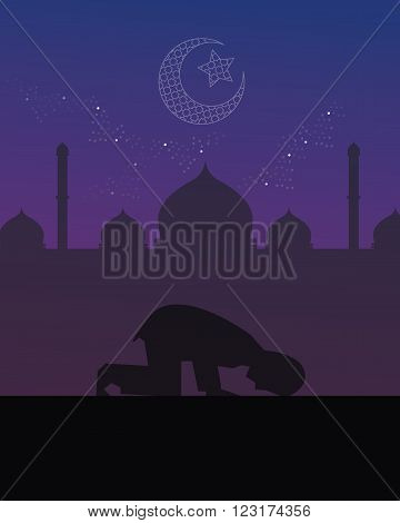 man praying night worship tahajud beautiful sky islam vector