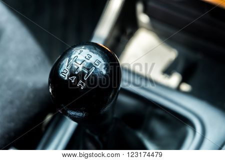 Close up manual gear; part of automobile