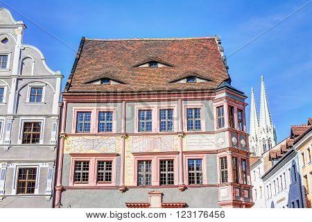 Old Drugstore And Sundial In Gorlitz