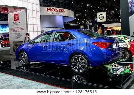 NEW YORK - March 23: A Toyota  Corolla XSE exhibit at the 2016 New York International Auto Show during Press day,  public show is running from March 25th through April 3, 2016 in New York, NY.