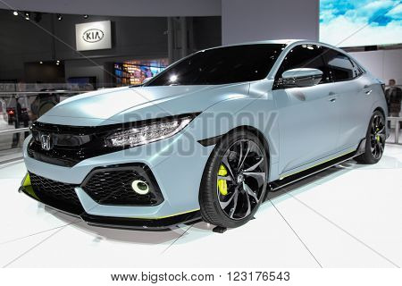 NEW YORK - March 23: A Honda Civic Hatchback prototype  at the 2016 New York International Auto Show during Press day,  public show is running from March 25th through April 3, 2016 in New York, NY.