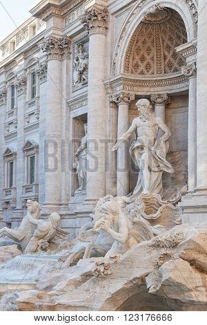 Trevi Fountain in Rome is the largest Baroque fountain in the city and one of the most famous fountains in the world