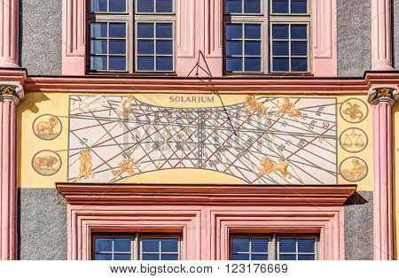 Old town house with sundial in Gorlitz, Germany