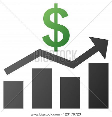Sales Chart vector toolbar icon for software design. Style is gradient icon symbol on a white background.