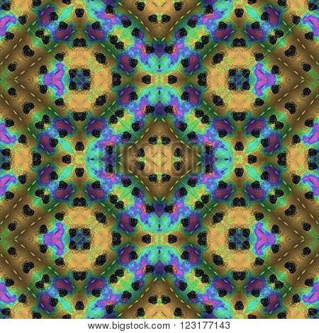 Kaleidoscopic seamless generated pattern texture or background