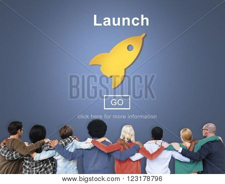Launch Start Brand Introduce Rocket Ship Concept